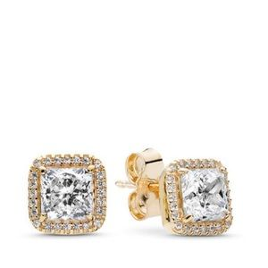 14K Gold Pandora Timeless Elegance Stud Earrings